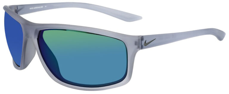 Nike Adrenaline in Matte Wolf Gray Frame with Gray Green Lens Angled to the Left Side