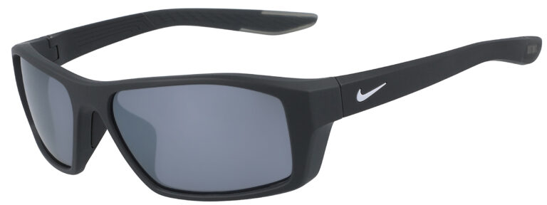 Nike Brazen Shadow in Matte Anthracite Frame with Grey Silver Flash Lens, Angled to the Side Left