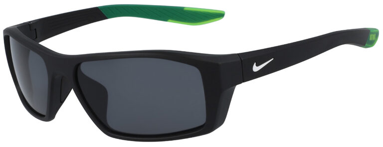 Nike Brazen Shadow in Matte Black Frame with Dark Grey Lens, Angled to the Side Left
