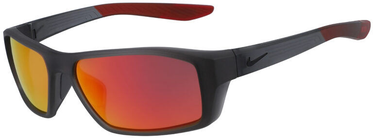 Nike Brazen Shadow in Matte Dark Grey with Red Mirror Lens, Angled to the Side Left