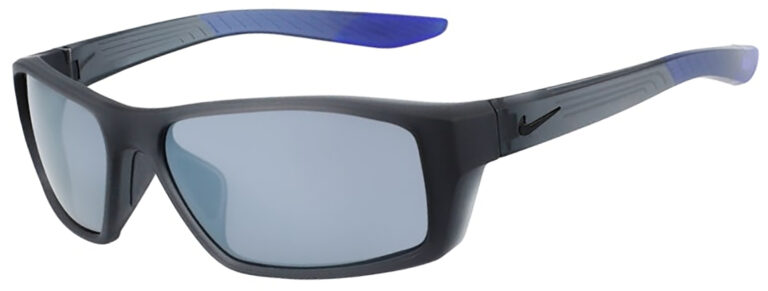 Nike Brazen Shadow in Matte Dark Grey Frame with Silver Flash Lens, Angled to the side Left, NI-CT8228-012