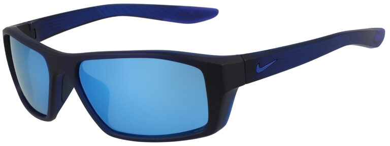 Nike Brazen Shadow in Matte Dark Obsidian Frame with Frozen Blue Mirror Lens, Angled to the Side Left