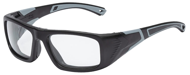Onguard US-110-S Prescription Safety Glasses in Black/Grey Frame, Angled to the Side Left