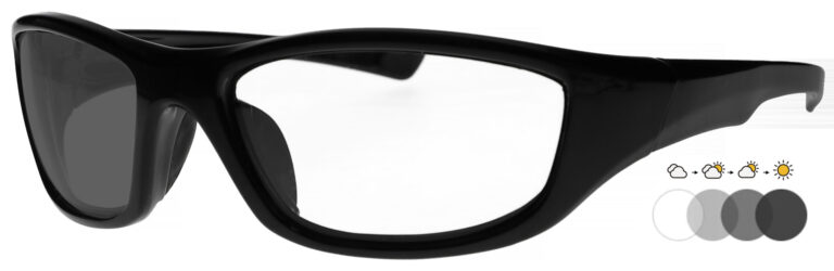 Photochromic Safety Glasses in Black Frame with Transition Lenses, Angled to the Side Left