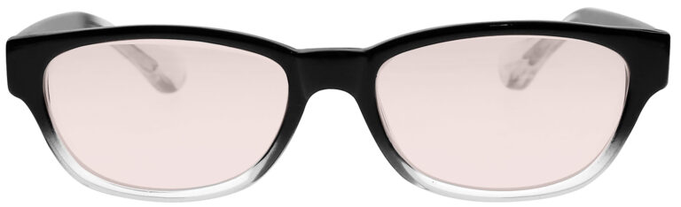 Real Glass Lens Reading Glasses in Black Clear Fade Frame with UV Blocking Pink Lens, Angled Front