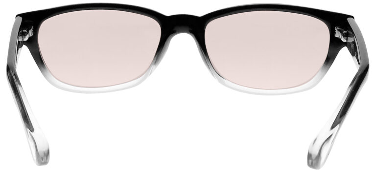 Real Glass Lens Reading Glasses in Black Clear Fade Frame with UV Blocking Pink Lens, Angled Rear