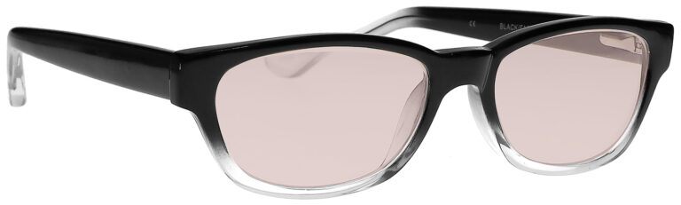 Real Glass Lens Reading Glasses in Black Clear Fade Frame with UV Blocking Pink Lens, Angled Side Right