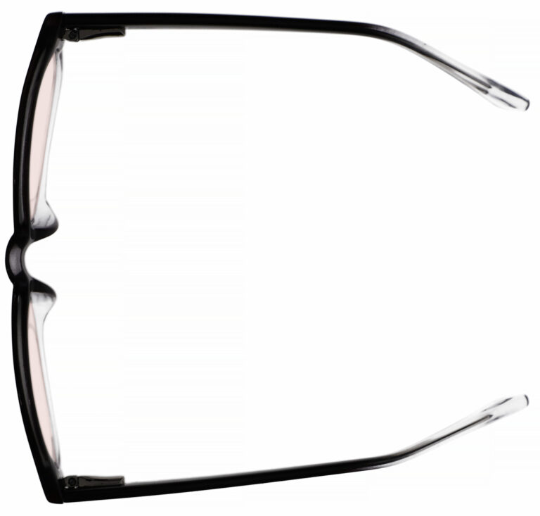 Real Glass Lens Reading Glasses in Black Clear Fade Frame with UV Blocking Pink Lens, Angled Top