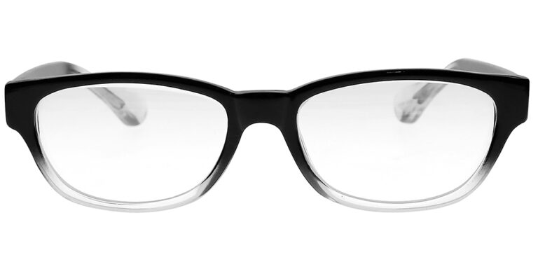 Real Glass Reading Glasses in Black Clear Fade, Angled Front