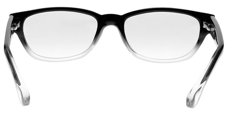 Real Glass Reading Glasses in Black Clear Fade, Angled Rear