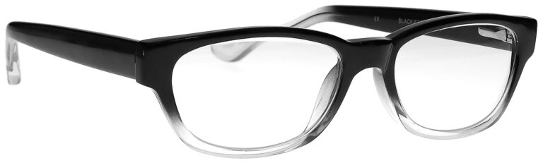 Real Glass Reading Glasses in Black Clear Fade, Angled Side Right
