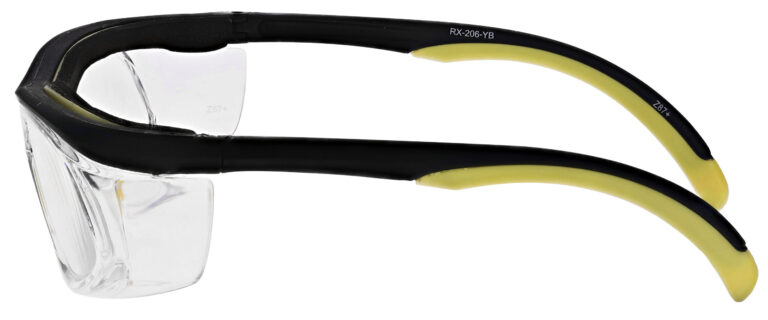 Safety Reading Glasses Model Impact in Black Yellow Frame with Clear Lens, Angled to the Left