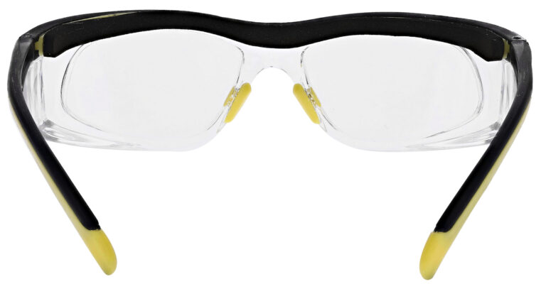Safety Reading Glasses Model Impact in Black Yellow Frame with Clear Lens, Angled to the Rear