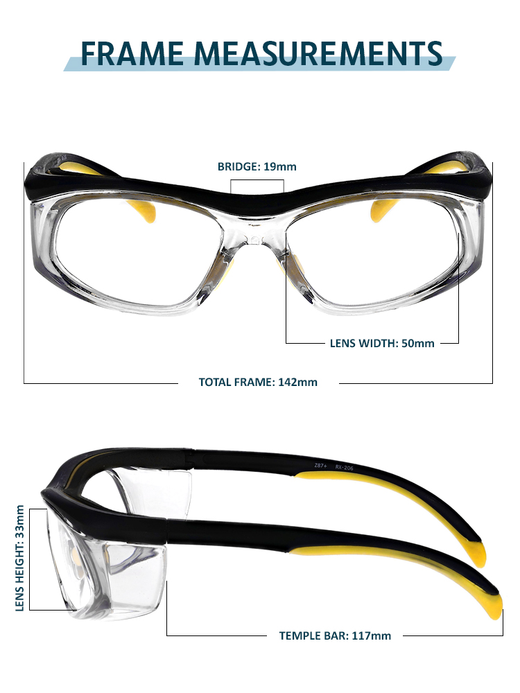 Safety Reading Glasses Model Impact in Black Yellow Frame with Clear Lens, PRG-206YB
