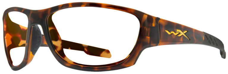 Wiley X Climb in Matte Gloss Tortoise Frame, Angled to the Left Side