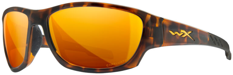 Wiley X Climb in Matte Gloss Tortoise Frame with Captivate Polarized Bronze Mirror (Copper Base) Lens, Angled to the Side Left