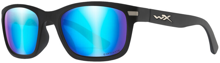Wiley X Helix in Matte Black Frame with Captivate Polarized Blue Mirror (Grey Base) Lens, Angled to the Side Left