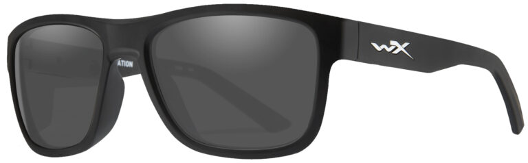 Wiley X Ovation in Matte Black Frame with Grey Lens, Angled to the Side Left