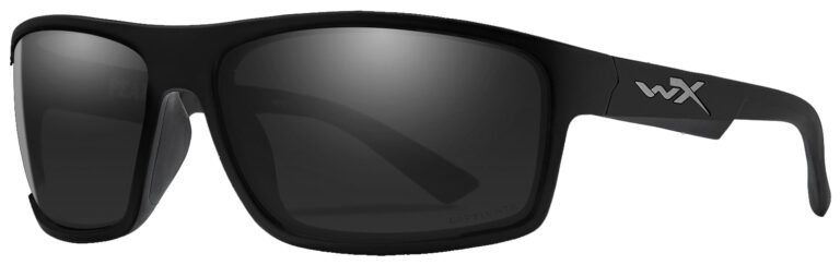 Wiley X Peak in Matte Black Frame with Grey Silver Flash Lens, Angled to the Side Left