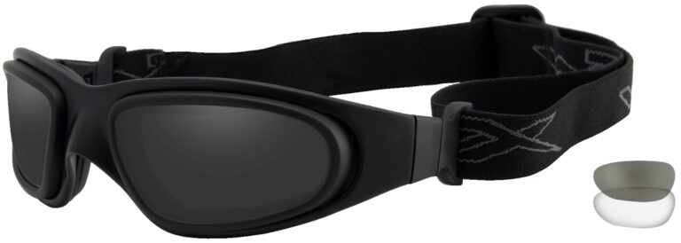 Wiley X SG-1 in Matte Black Frame with Black and Clear Lens, Angled to the Side Left