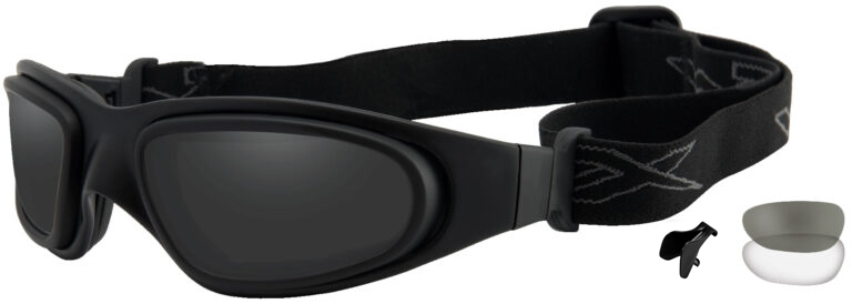 Wiley X SG-1 in Matte Black Asian Cut Frame with Black and Clear Lens, Angled to the Side Left