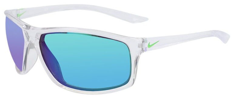 Nike Adrenaline in Clear Frame with Gray Green Lens Angled to the Left Side