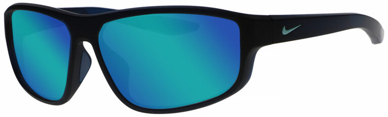 Nike Brazen Fuel in Matte Space Blue Grey Frame with Turquoise Mirror Lens, Angled to the Side Left