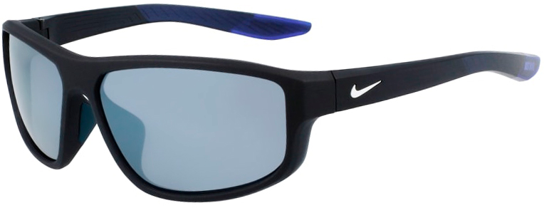 Nike Brazen Fuel Matte Obsidian Gray Frame with Gray Silver Flash Lens, Angled to the Left Side