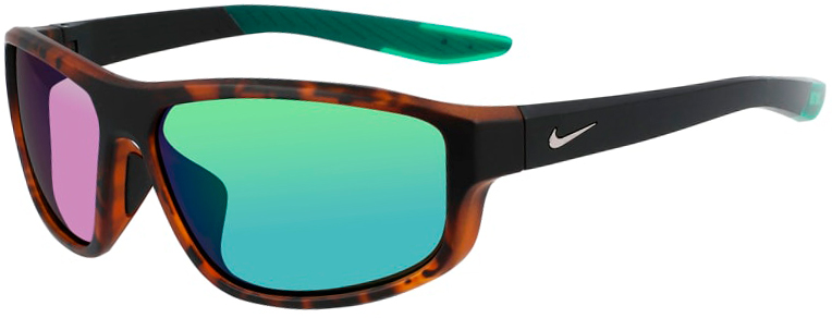 Nike Brazen Fuel Matte Tortoise Frame with Green Gradient Lens, Angled to the Left Side