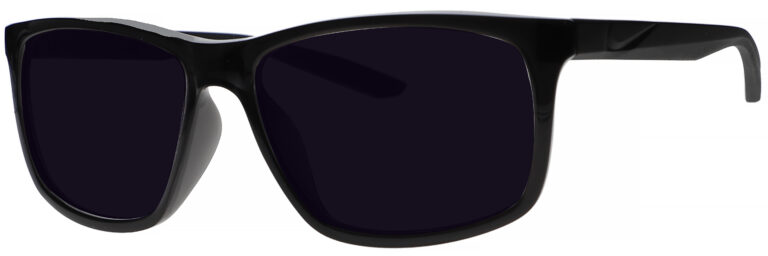 Nike Chaser Ascent Sunglasses in Black Frame with Dark Grey Lens. Angled to the Side Left