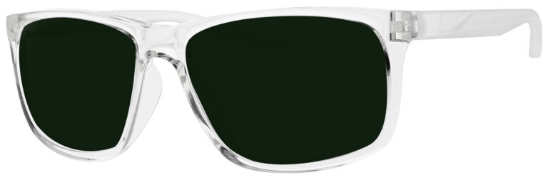 Nike Chaser Ascent Sunglasses in Clear Frame with Green Lens. Angled to the Side Left