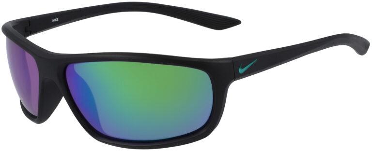 Nike Rabid Sunglasses in Matte Black Frame with Polarized Gray and Green Mirror Lens, NI-EV1111-010