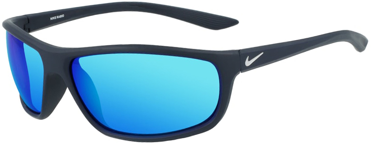 Nike Rabid in Matte Obsidian Frame with Blue Mirror Lens, Angled to the Left, NI-EV1110-451