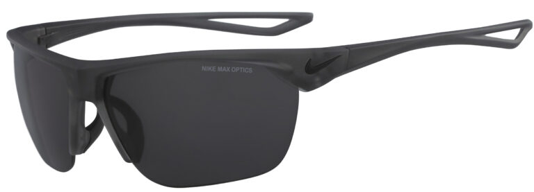 Nike Trainer in Matte Anthracite Black Frame with Dark Grey Lens, Angled to the Side Left