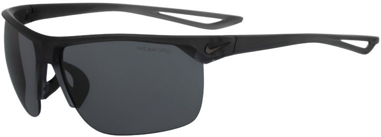 Nike Trainer in Matte Crystal Anthracite Black Frame with Dark Grey Lens, Angled to the Side Left
