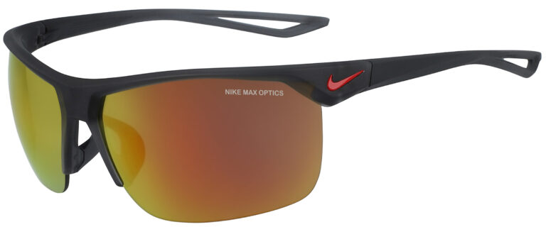 Nike Trainer in Matte Dark Grey Frame with Orange Mirror Lens, Angled to the Side Left