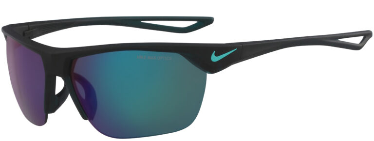 Nike Trainer in Matte Dark Teal Frame with Gray Green Flash Lens, Angled to the Side Left