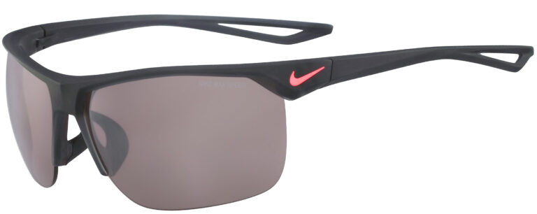 Nike Trainer in Matte Grey Frame with Speed Tints Brown Lens, Angled to the Side Left