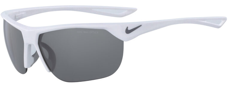 Nike Trainer in Shiny White Frame with Grey Silver Flash Lens, Angled to the Side Left