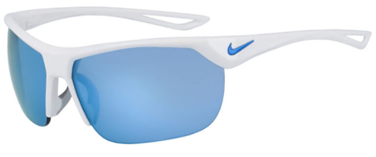 Nike Trainer in White Grey Frame with Light Blue Mirror Lens, Angled to the Side Left