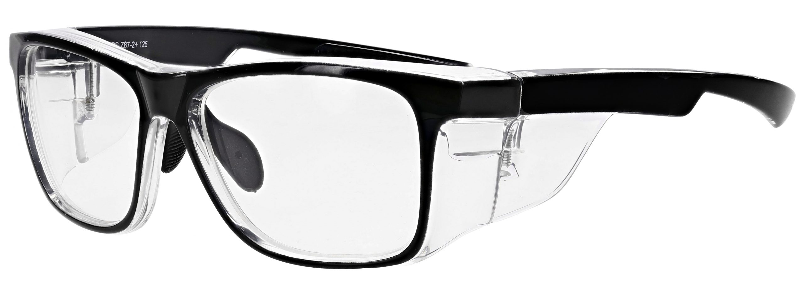 RX-15011 Prescription Safety Glasses in Black/Clear Frame with Clear Lens, Angled to the Side Left