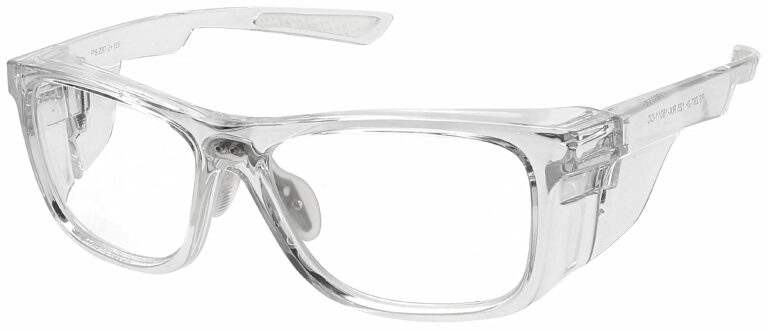 RX-15011 Prescription Safety Glasses in Crystal Clear Frame with Clear Lens, Angled to the Side Left