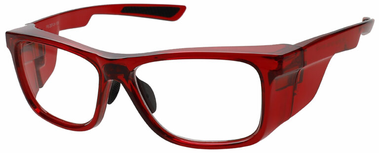 RX-15011 Prescription Safety Glasses in Crystal Red Frame with Clear Lens, Angled to the Side Left