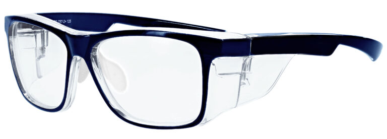 RX-15011 Prescription Safety Glasses in Navy Clear Frame with Clear Lens, Angled to the Side Left