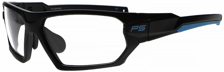 RX Q368 Prescription Safety Glasses in Black/Blue Frame with Clear Lens, Angled to the Side Left