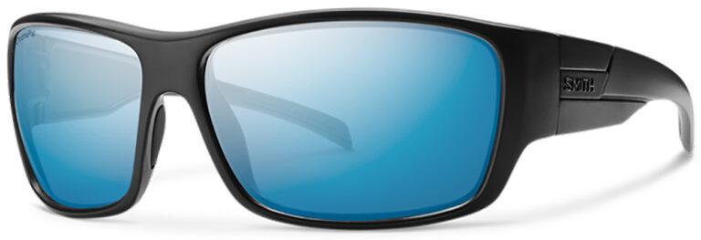 Smith Optics Frontman Elite Sunglasses in Black Frame with Chromapop Elite Polarized Blue Mirror Lenses Side Left Angle