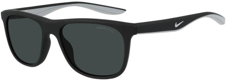 Nike Flo Sunglasses Matte Black Frame Polar Gray Polarized Lenses Angled Side Left NI DQ0863 011