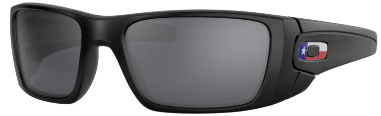 Oakley Standart Issue Fuel Cell USA Flag Collection in a Matte Black Frame with Black Iridium Lens, Angled to the Left Side