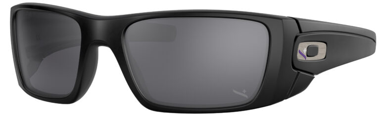 Oakley Standart Issue Fuel Cell Infinite Hero Collection in a Matte Black Frame with Black Iridium Lens, Angled to the Left Side