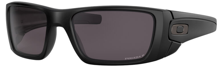 Oakley Standart Issue Fuel Cell Uniform Collection in a Matte Black Frame with Prizm Gray Polarized Lens, Angled to the Left Side